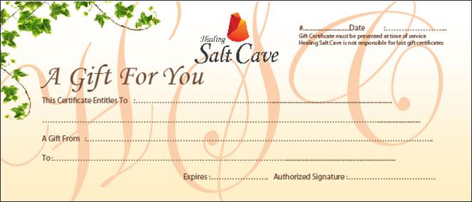 gift certificate healing salt caves
